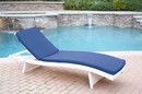 Jeco WL-1W_CL1-FS011 White Wicker Adjustable Chaise Lounger With Midnight Blue Cushion