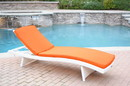 Jeco WL-1W_CL1-FS016 White Wicker Adjustable Chaise Lounger With Orange Cushion