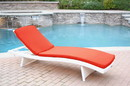 Jeco WL-1W_CL1-FS018 White Wicker Adjustable Chaise Lounger With Brick Red Cushion