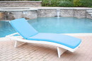 Jeco WL-1W_CL1-FS027 White Wicker Adjustable Chaise Lounger With Sky Blue Cushion
