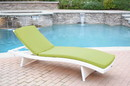 Jeco WL-1W_CL1-FS029 White Wicker Adjustable Chaise Lounger Sage Green Cushion