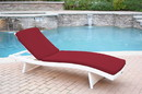 Jeco WL-1W_CL1-FS030 White Wicker Adjustable Chaise Lounger with Red Cushion