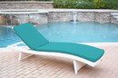 Jeco WL-1W_CL1-FS032 White Wicker Adjustable Chaise Lounger with Turquoise Cushion