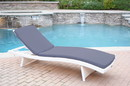 Jeco WL-1W_CL1-FS033 White Wicker Adjustable Chaise Lounger with Steel Blue Cushion