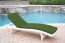 Jeco WL-1W_CL1-FS034 White Wicker Adjustable Chaise Lounger with Hunter Green Cushion
