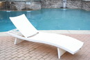Jeco WL-1W White Wicker Adjustable Chaise Lounger