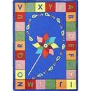 Joy Carpets 1625 Alphabet Pinwheel Rug