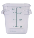 Johnson-Rose 56004 Food Container, Square, Clear Polycarbonate, NSF, Dual Graduate Measures (4 Liter/4 Quart) 7-1/4 X 7-1/4