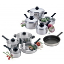 Focus Foodservice KPW9007 7 pc. Stainless steel cookware set with stainless steel covers- 1 & 2 qt. covered sauce pans, 6 qt. Dutch oven, and 10