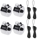 GOGO 4 PCS Tally Counters with Lanyards Mechanical Lap Trackers Manual Clickers Handheld Manual Lap Counter