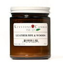 Keystone Candle PS8AM-LPW Pure Soy Leather Pipe and Woods 8 oz