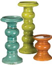 Keystone Candle Sul-cm2344 Pillar Holder Set Assorted Colors 3 Piece