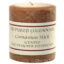 Keystone Candle Tex3x3-CinnStick Textured 3x3 Cinnamon Stick Pillar Candles