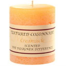 Keystone Candle Tex3x3-Creams Textured 3x3 Creamsicle Pillar Candles