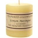 Keystone Candle Tex3x3-Lemon Textured 3x3 Lemon Meringue Pillar Candles