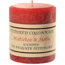 Keystone Candle Tex3x3-MisHolly Textured 3x3 Mistletoe and Holly Pillar Candles