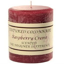 Keystone Candle Tex3x3-Rasp Textured 3x3 Raspberry Cream Pillar Candles