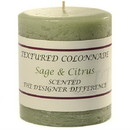 Keystone Candle Tex3x3-SandC Textured 3x3 Sage and Citrus Pillar Candles