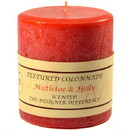 Keystone Candle Tex4x4-MisHolly Textured 4x4 Mistletoe and Holly Pillar Candles