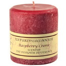 Keystone Candle Tex4x4-Rasp Textured 4x4 Raspberry Cream Pillar Candles