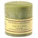 Keystone Candle Tex4x4-SandC Textured 4x4 Sage and Citrus Pillar Candles