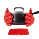 Aspire 4PCS Supreme Silicone Heat-resistant Grilling BBQ Gloves Set, 1 Pair Barbecue Baking Gloves + 2 Silicone Pot Holders, Trivet Mat - Protect Your Hands And Avoid Accidents - 6.8 OZ Thicker Gloves