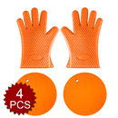 Aspire 4PCS -- 2 Pcs Heat Resistant Cooking Oven Gloves & 2 Pcs Silicone Hot Pads