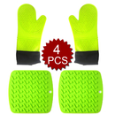 Aspire 4PCS Oven Mitts & Potholders Set, 2 Pcs Quilted Gloves & 2 Pcs Hot Mats