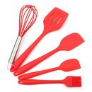 Aspire 5PCS/SET Red Silicon Kitchen Utensils Set - Balloon Whisk, Pastry Brush, Spatula & Scrapers, Fish Slice