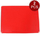 Aspire 2Pcs Silicone Non-stick Healthy Cooking Baking Mat with Pyramid Surface Fat Reducing Toaster Oven Liner