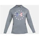 Under Armour 1323105035LG UA Freedom Tech Terry Hoodie, Steel, Large