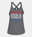 Under Armour 1327578012XS Women's UA Freedom USA Tank Top, Pitch Gray, X-Small
