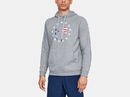 Under Armour 1331410035LG UA Freedom Rival Fleece Logo Hoodie, Steel Light Heather, Large