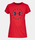 Under Armour 1333372600LG Women's Freedom Logo T-Shirt, Red/Blackout Navy, Large