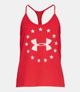 Under Armour 1333377600SM Women's UA Freedom Tank Top, Red/Blackout Navy, Small