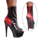 Karo's Shoes 3362 Black Patent with Red Patent Lace up back, 6