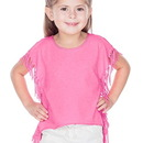 Kavio PJP0667 Girls 3-6X Sheer Jersey Raw Edge Side Fringe Asymmetrical Cap Sleeve CropTop