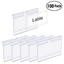 Label Holder Clear Plastic 100-Pack Retail Price Hang Tag for Shelves Wire Shelf Warehouse Rack 2.4