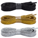 TopTie 3 Pairs Glitter Shoelaces, Colorful Flat Sparkle Shoe Strings