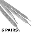 TopTie Metallic Lurex Flat Shoelaces 45 Inch Long (6 Pairs)