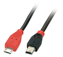 LINDY 31718 1m USB OTG Cable - Black, Type Micro-B to Mini-B