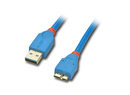LINDY 31890 0.5m USB 3.0 Cable Pro - Type A Male to Micro-B Male, Blue