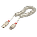 LINDY 31927 2m USB 2.0 Coiled Extension Cable, Type A to Type A, Transparent