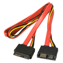 LINDY 33650 0.5m Slimline SATA Extension Cable (Combined Data & Power)