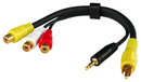 LINDY 35538 AV Adapter Cable - 3 x Phono Female to 1 x 3.5mm Stereo Jack Male & 1 x Phono Male, 20cm
