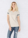 LAT 3537 Ladies V-Neck Football Tee