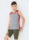 LAT 6119 Youth Contrast Back Tank