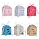 Aspire 50 Pcs / Pack Laser Cut Favor Boxes Mr & Mrs Wholesale Gift Box with Ribbon Wedding Favor