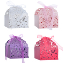 Aspire 50 Pcs / Pack Flower Laser Cut Favor Boxes Party Candy Boxes Wedding Party Favor Gift Box