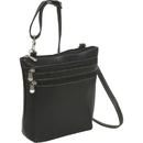 Le Donne Leather LD-9100  3 Zip Crossbody Shoulder Bag